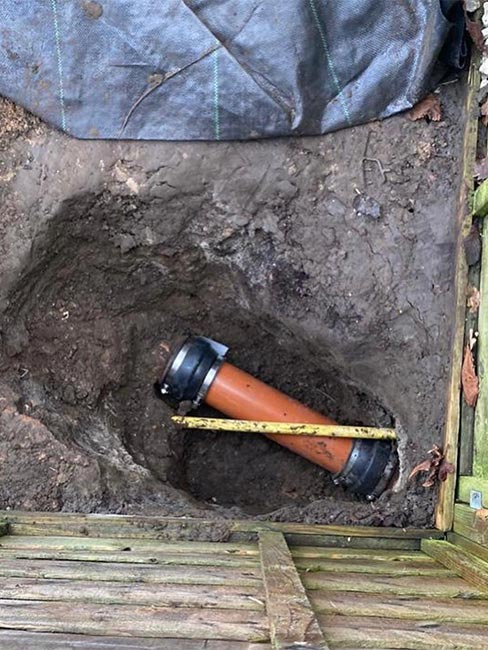 Capital Drainage drain penetrated by gas main after