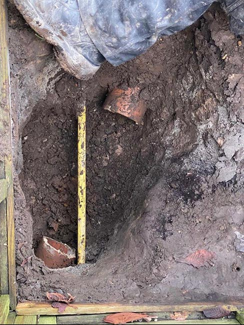Capital Drainage drain penetrated by gas main before